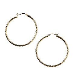 Athra Goldtone Textured Hoop Earrings