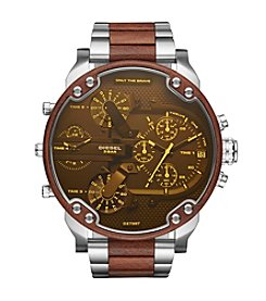 Diesel Men's Mr. Daddy 2.0 Silvertone and Brown Chronograph Watch