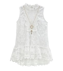 Beautees Girls' 7-16 Hi-Lo Victorian Lace Top