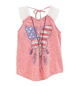 Beautees Girls' 7-16 Lace Strap Tank Top with Butterfly Screen