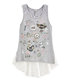 Beautees Girls' 7-16 Hi-Low Patches Tank
