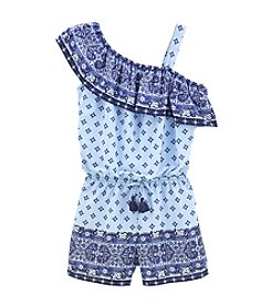 Sequin Hearts® Girls' 7-16 Off The Shoulder Diamond Print Romper