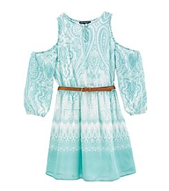Sequin Hearts® Girls' 7-16 Belted Cold Shoulder Dress