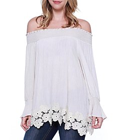 Skylar & Jade™ Crochet Trim Gauze Top
