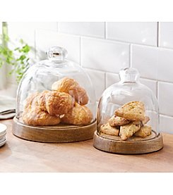 Mud Pie® Circa Wood And Glass Cloche Set