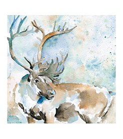 Artissimo Designs Caribou On Blue Canvas Wall Art
