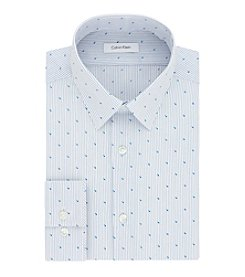 Calvin Klein Men's Steel Non Iron Stretch Slim Fit Point Collar Printed Dress Shirt