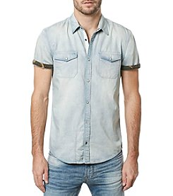 Buffalo by David Bitton Men's Salaneyis Short Sleeve Denim Woven Shirt