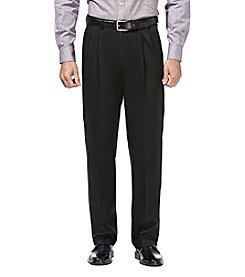 Haggar Premium No Iron Khaki Stretch Classic Fit Pleated Pant