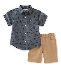 Kids Headquarters® Boys' 2T-7 2-Piece Dino Chambray Set
