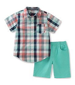 Kids Headquarters® Boys' 2T-7 2-Piece Plaid Shirt Set