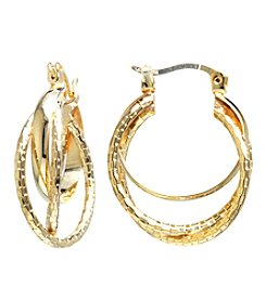 Athra Diamond Cut Triple Clicktop Hoop Boxed Earrings