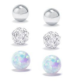 Athra High Polished Ball, Crystal Pave Ball And Opal Ball Stud Set