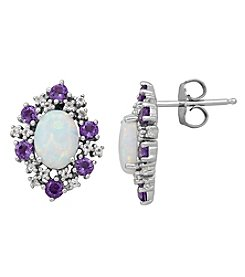 Sterling Silver Created Opal, Amethyst And White Topaz Earrings