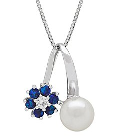Sterling Silver Cultured Freshwater Pearl And Created White Sapphire Pendant
