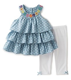 Kids Headquarters Girls' 2T-6X 2-Piece Dot Chambray Tunic and Capri Set