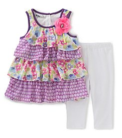 Kids Headquarters Girls' 2T-6X 2-Piece Floral Tunic and Capri Set