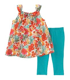 Kids Headquarters Girls' 2T-6X 2 Piece Floral Tunic and Capri Set