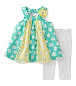 Kids Headquarters Girls' 2T-6X 2-Piece Daisy Tunic and Capri Set