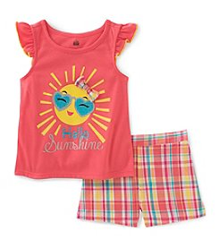Kids Headquarters Girls' 2T-6X 2 Piece Hot Sun Tank and Plaid Shorts Set