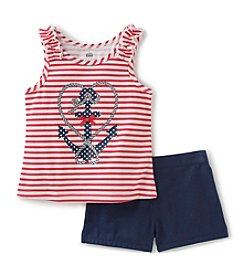Kids Headquarters Girls' 2T-6X 2 Piece Anchor Tank and Shorts Set