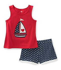 Kids Headquarters Girls' 2T-6X 2 Piece Sailboat Tank and Shorts Set