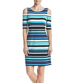 Jessica Howard Blue Multi Cold Shoulder Striped Sheath