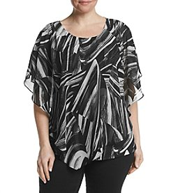 Studio Works® Plus Size Printed Poncho Layered Look Top