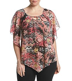 Studio Works® Plus Size Printed Poncho Top