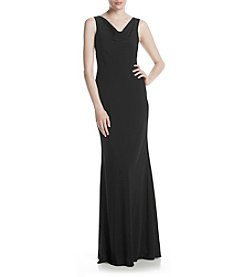 Xscape Draped Neckline Long Gown