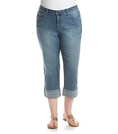 Earl Jean® Plus Size Embroidered Cuff Jeans