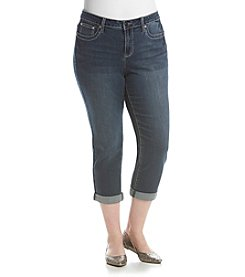 Earl Jean® Plus Size Bling Flap Back Pocket Capri