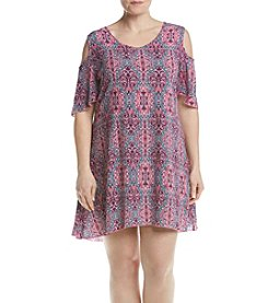 Relativity® Plus Size Cold Shoulder Printed Dress