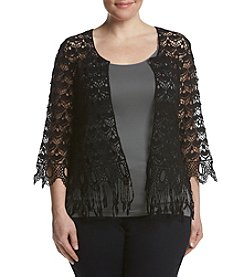 Ruff Hewn GREY Plus Size Crochet Cardigan