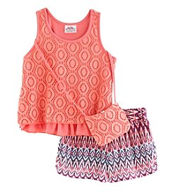 Beautees Girls' 4-6X 3-Piece 2 Tier Top, Purse And Short Set