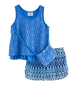 Beautees Girls' 4-6X 2-Piece Two Tier Top and Shorts Set