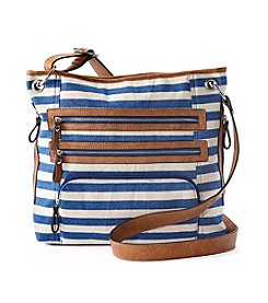 GAL Blue Canvas Striped Crossbody