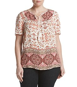 Hippie Laundry Plus Size Border Peasant Top