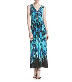 R&M Richards® Beaded Printed Maxi Dress