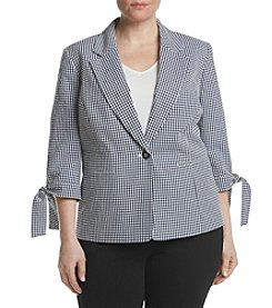 Nine West® Plus Size Gignham Tie Cuff Jacket