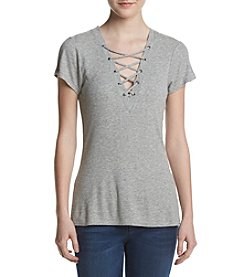Jessica Simpson Lace-Up Ribbed Tee