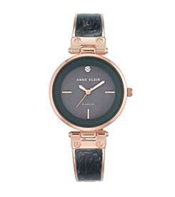 Anne Klein® Rose Goldtone and Grey Marble Bangle Watch