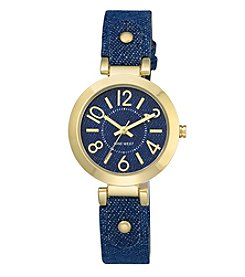 Nine West® Goldtone Denim Watch