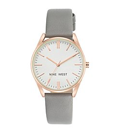 Nine West® Rose Goldtone and Grey Strap Watch