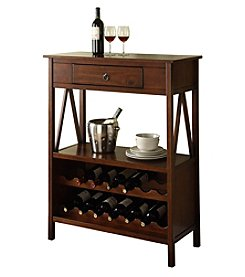 Linon Home Decor Products, Inc. Titian Antique Tobacco Wine Cabinet