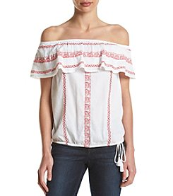 Ruff Hewn Petites' Embroidered Off Shoulder Peasant Top