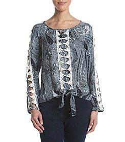 Oneworld® Tie Front Tunic Top