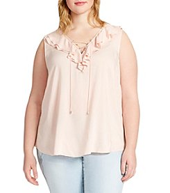 Jessica Simpson  Plus Size Ruffle Lace-Up Top