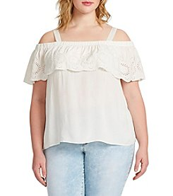 Jessica Simpson Plus Size Flounce Off-Shoulder Top