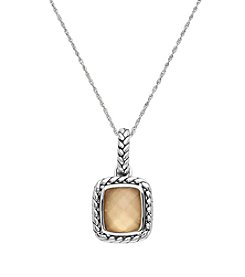 Sterling Silver Onyx With Gold Coating Pendant